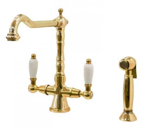 Kitchen mixer - Chelsea brass with separate hand spray