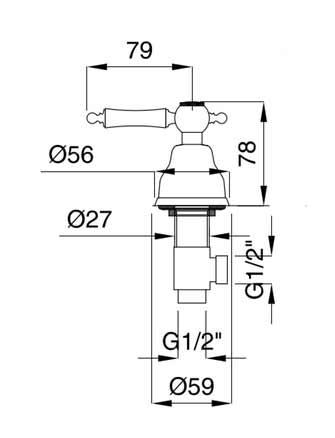 Measures Classic retro Dishwasher valve - Denver - chrome