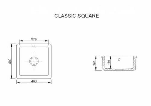 Kitchen Sink - Classic Square 46 cm