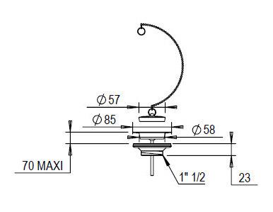 Drain valve - chrome - old style - oldschool style