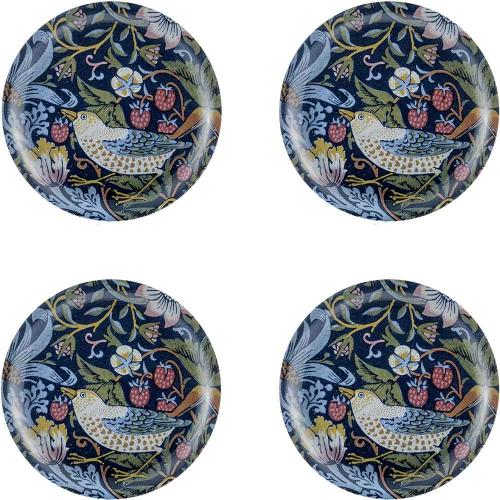 Glass Coaster 4-pakke - William Morris Strawberry Thief - arvestykke - gammeldags dekor - klassisk stil - retro