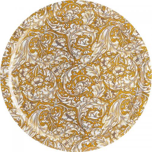 Stor rund bricka 49 cm - William Morris, Bachelors Button - gul