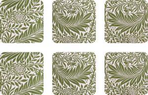 Glasunderlägg 6-pack - William Morris, Larkspur - gammaldags inredning - klassisk stil - retro - sekelskifte
