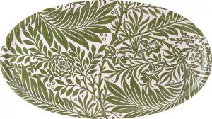 Bricka oval 50 x 28 cm - William Morris, Larkspur - gröna blad