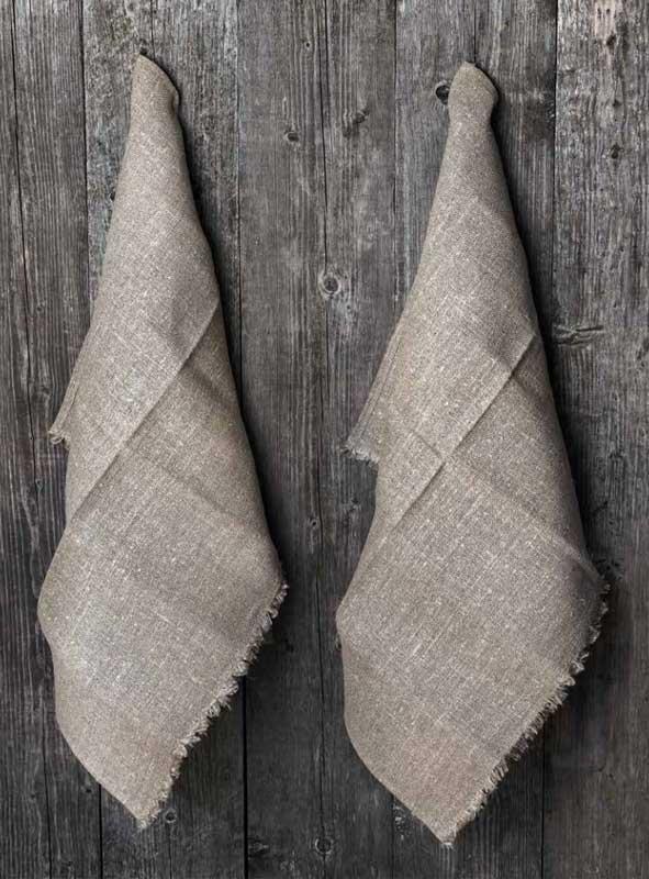 Handduk 2-pack - Lin 50x70 cm, säckväv natur - gammaldags inredning - klassisk stil - retro - sekelskifte