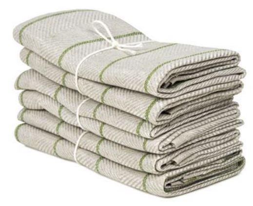 Kitchen towel 2-pcs - Linen 50 x 70 cm, marulk natural-leaf green