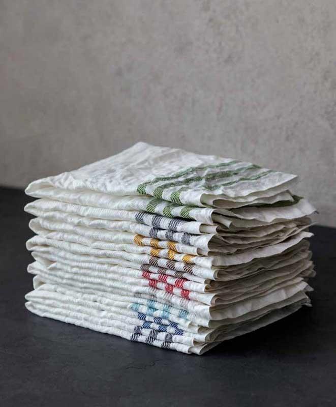 Kitchen towel 2-pcs - Linen 50 x 70 cm with stripes