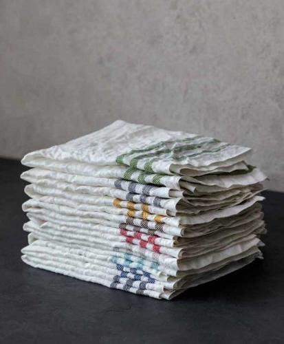 Kitchen towel 2-pcs - Linen 50 x 70 cm, diagonal offwhite/leaf green