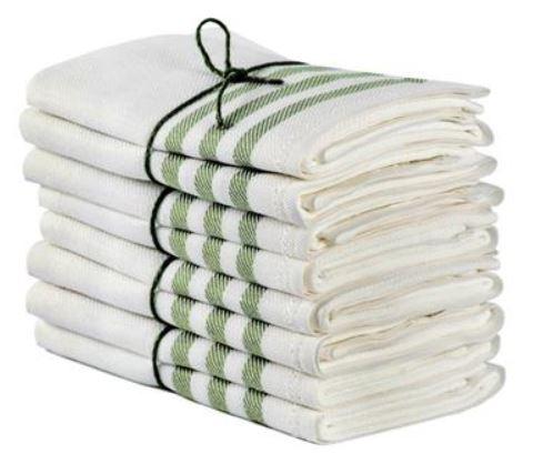 Kitchen towel 2-pcs - Linen 50 x 70 cm, diagonal offwhite/leaf green