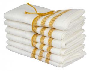 Kitchen towel 2-pcs - Linen 50 x 70 cm, stripe offwhitel/ocher