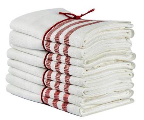 Kitchen towel 2-pcs - Linen 50 x 70 cm, diagonal offwhite/red