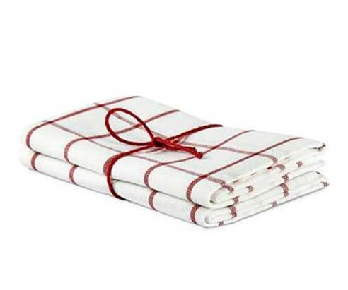 Kitchen towel 2-pcs - Linen 50 x 70 cm,  checkered off-white/red
