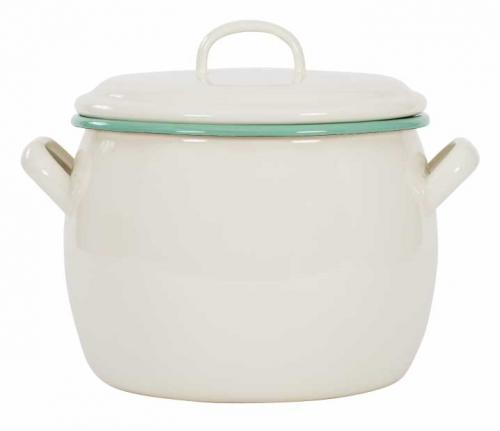 Kockums bellied pot 4L - Enamel white/green