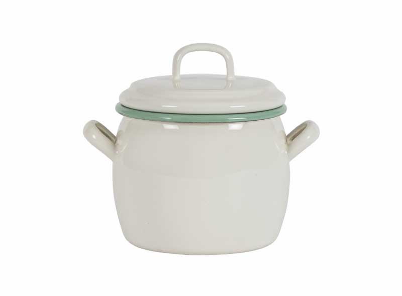 Kockums bellied pot 0,7 L - Enameled white/green