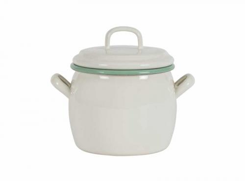 Kockums bellied pot 0,7 L - Enameled white/green