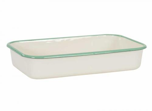 Kockums stew pan - Enamel creme/green