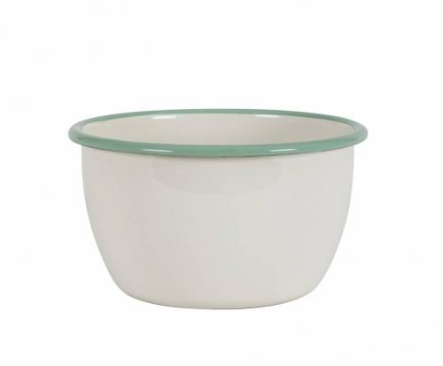 Kockums bowl 16 cm. Enamel creme/green