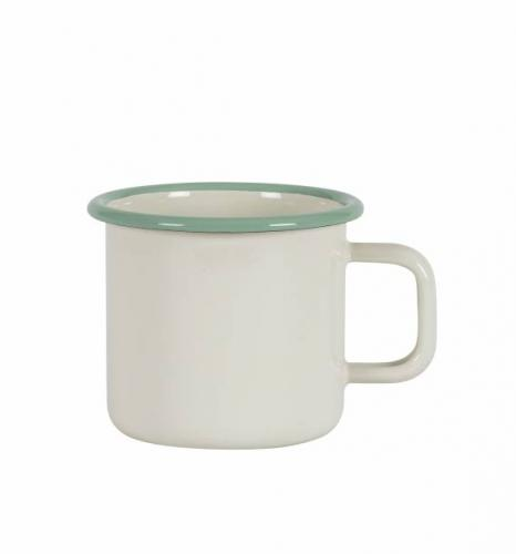 Kockums mug . Enamel creme/green