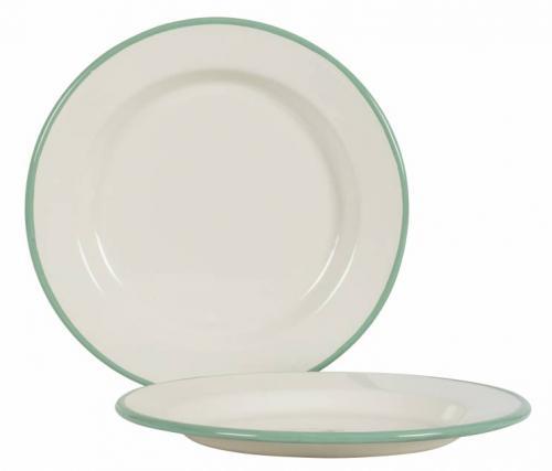 Kockums tallerken 24 cm - Emalje hvit/grønn