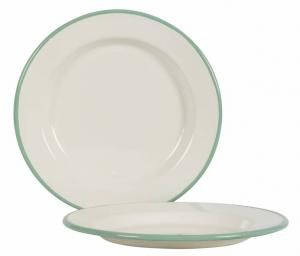 Kockums plate 24 cm - Enamel white/green