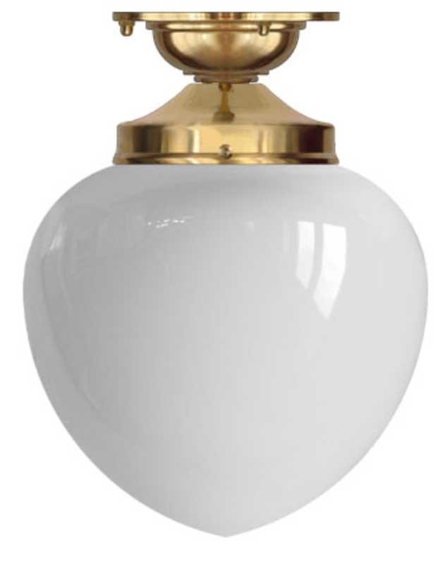 Taklampe - Lundkvist 100 messing, hvit dråpeskjerm - arvestykke - gammeldags dekor - klassisk stil - retro - sekelskifte