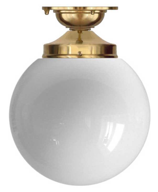 Taklampe - Lundkvist 100 messing, globeskjerm - arvestykke - gammeldags dekor - klassisk stil - retro - sekelskifte
