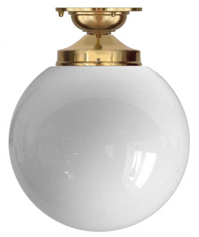 Taklampe - Lundkvist 100 messing, stor globeskjerm - arvestykke - gammeldags dekor - klassisk stil - retro - sekelskifte