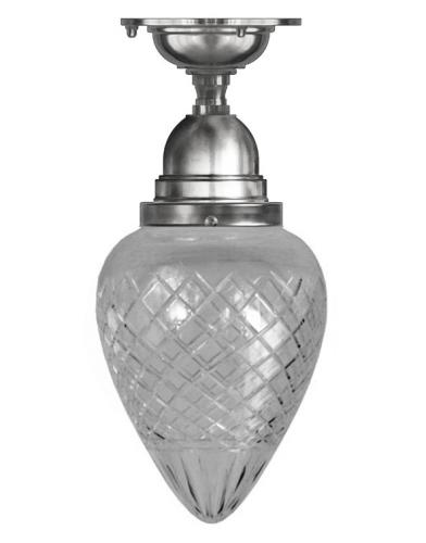 Bathroom Ceiling Lamp - Byström 80 nickel, drop clear