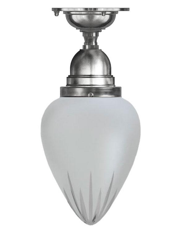 Taklampe - Byström 80 nikkel, matt glass - arvestykke - gammeldags dekor - klassisk stil - retro