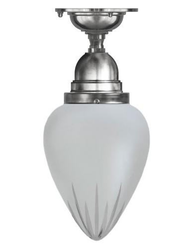 Bathroom Ceiling Lamp - Byström 80 nickel, frosted drop shade