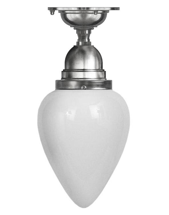 Taklampa - Byström 80 förnicklad, vit droppe - sekelskiftesstil - gammaldags inredning - klassisk stil - retro