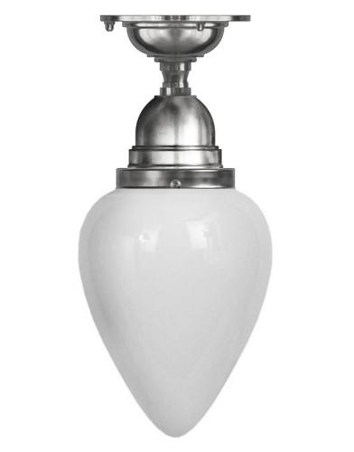 Bathroom Ceiling Lamp - Byström 80 nickel, white drop shade
