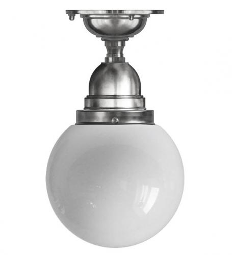 Bathroom Ceiling Lamp - Byström 80 nickel, globe shade
