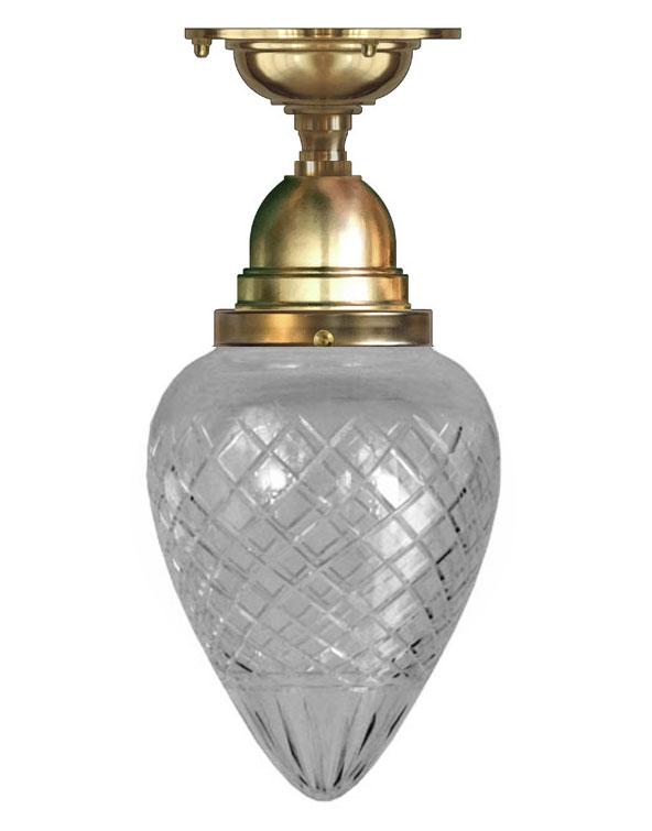 Taklampe - Byström 80 messing, dråpe kuppel - arvestykke - gammeldags dekor - klassisk stil - retro