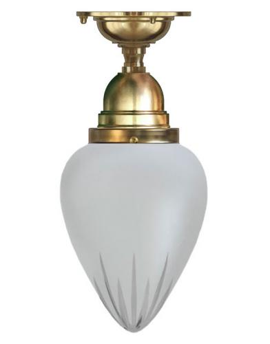 Bathroom Ceiling Lamp - Byström 80 brass, frosted drop shade
