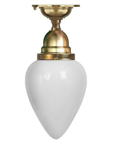 Bathroom Ceiling Lamp - Byström 80 brass, white drop shade