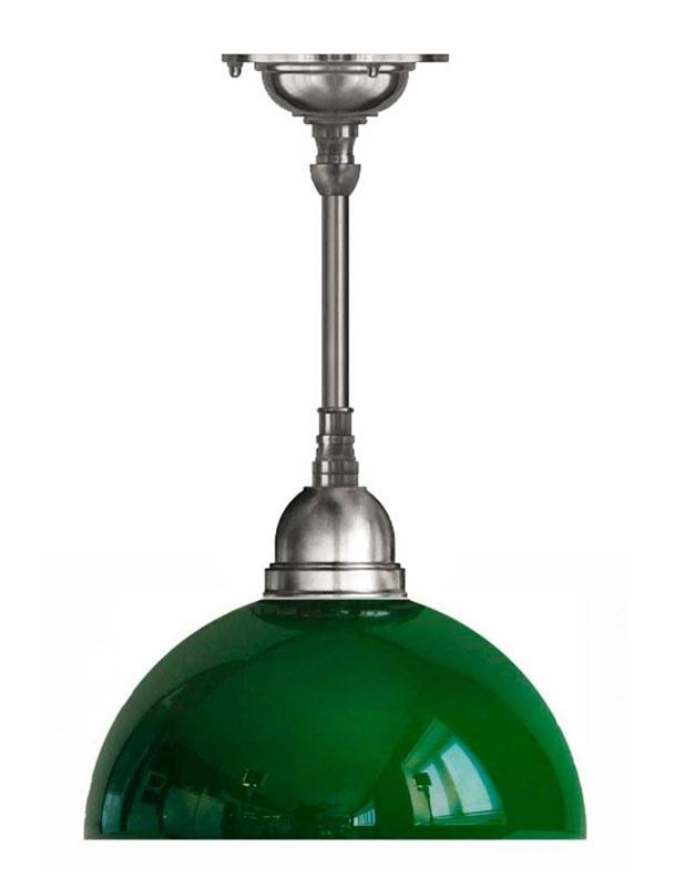 Taklampa - Byströmpendel 60, förnicklad grön halvsfär - sekelskiftesstil - gammaldags inredning - klassisk stil - retro