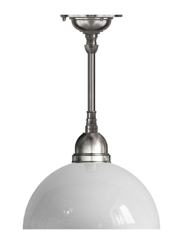 Taklampa - Byströmpendel 60, förnicklad vit halvsfär - sekelskiftesstil - gammaldags inredning - klassisk stil - retro