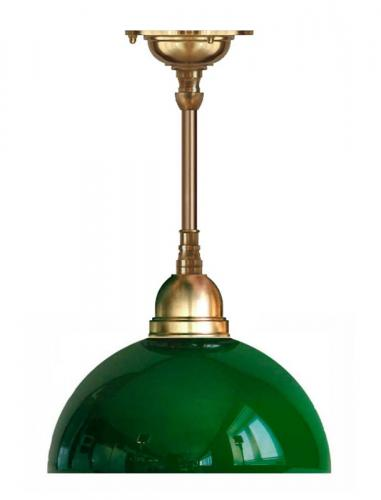 Ceiling Lamp - Byström 60 brass, green hemispherical glass