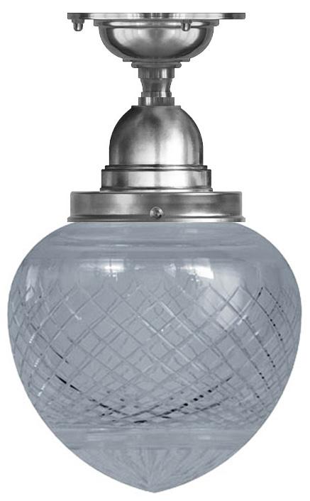 Bathroom Ceiling Lamp - Byström 100 nickel, clear drop shade