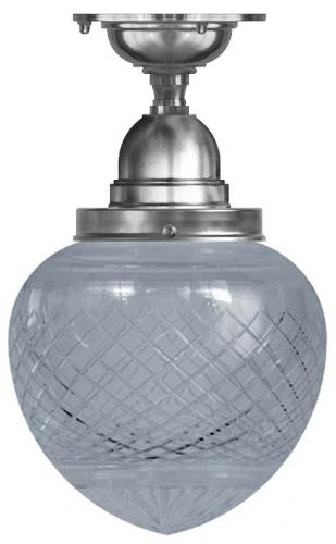 Ceiling Lamp - Byström 100, nickel clear drop shade