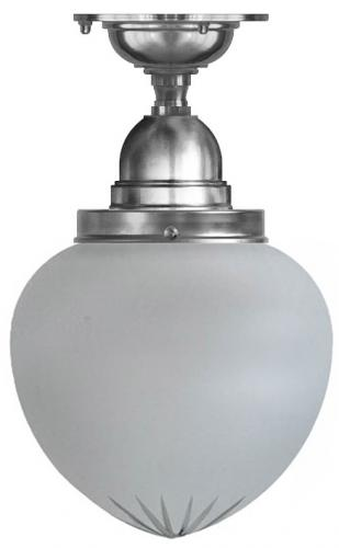 Bathroom Ceiling Lamp - Byström 100 nickel, frosted drop shade