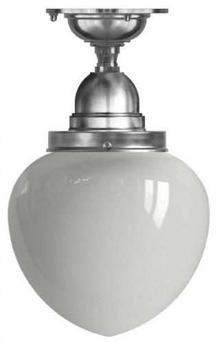Bathroom Ceiling Lamp - Byström 100 nickel, white drop shade