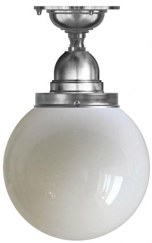 Taklampe - Byström 100 nikkel, opalhvit kuppel