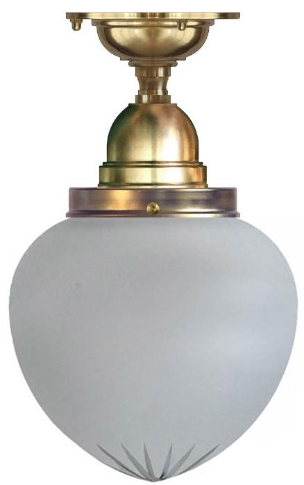 Baderomslampe - Taklampe Byström 100 messing matt teppedrop