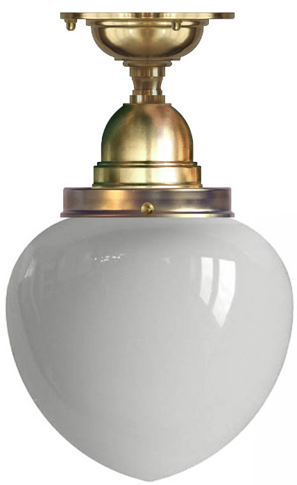 Bathroom Ceiling Lamp - Byström 100 brass, white drop shade
