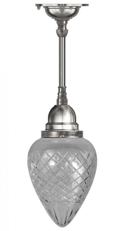 Taklampa - Byströmpendel 80 förnicklad, klardroppe - sekelskiftesstil - gammaldags inredning - klassisk stil - retro