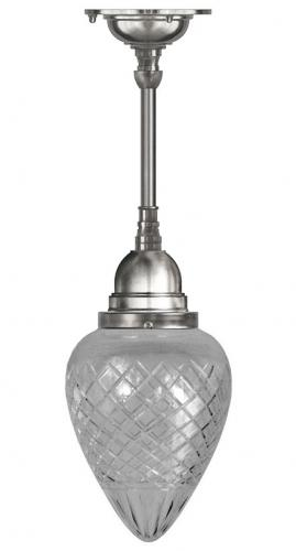 Bathroom Ceiling Lamp - Byström pendant 80 nickel, drop clear