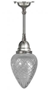 Ceiling Lamp - Byström pendant 80 nickel, clear drop