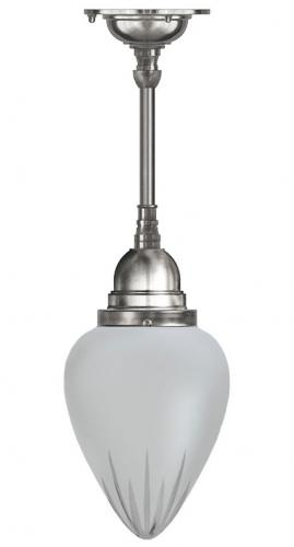 Bathroom Ceiling Lamp - Byström pendant 80 nickel, frosted glass drop